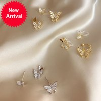 Zircon Double Butterfly Stud Earrings Simple Sweet Gold Silver Color Rhinestone Women Jewelry Sister Gifts New