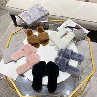 2021 Diseñadores de lujos Las mujeres zapatillas peludas Australia Fuzzy Soft Hous Hous Fluff Síh Diapositivas Sandalia Freeshipping Slipper de algodón con caja correcta