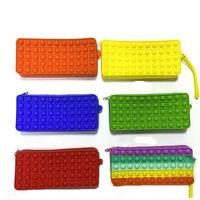 DHL Fidget Toys wallet handbag portable decompression Push It Bubble Sensory Autism Special Needs Stress Reliever Squeeze Toy for Kids Family ZSJ