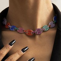 Chokers Hip Hop Iced Out CZ Multi-Colors Coffee Bean Pig Nose Necklace Crystal Charm Cuban Link Chain Bling Necklaces For Women Jewelry
