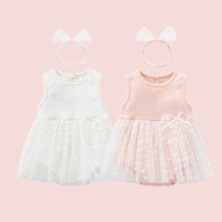 Girls Rompers Baby Clothes Infant Jumpsuit Newborn One Piece Clothing Cotton Summer Toddler Bodysuits Wear Lace Princess Dress Onesies Headbands 2Pcs Sets B6166