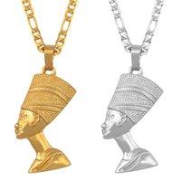 Yutong anniyo rainha egípcia nefertiti pingente colares mulheres homens jóias cor prata / cor de ouro por atacado jóias Africano # 163506