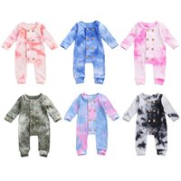 Jumpsuits 0-24M Baby Tie Dyeing Romper Fall Winter Button Long Sleeve Ribbed Knitted Soft Jumpsuit Suit For Boy Girl Autumn Clothing