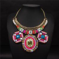 Bohemian Coloré Big Beads Collier Fake Collier Pour Femmes Déclaration Couker Boho Colliers Collaires Grandes Bijoux Crukers