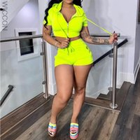 Women's Tracksuits 2021 Casual Sporty Hoodies Shorts Set For Women Two Piece Crop Tops Drawstring Sweat Suits 2 Sets Outfits