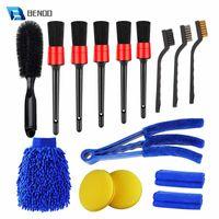 Car Sponge BENOO 15 PCS Detailing Brush Set Cleaning Kit For Wheels Engine Console Dashboard Air Vent Leather Detail Brushes Wheel