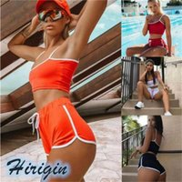 Two Piece Set dress Women Summer Casual Sports Suit Sexy Spaghetti Strappy Crop Tank Tops+Short Pants Suit11