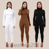 autumn and winter Turtleneck Bodycon Fitness Playsuit Sportswear Long Sleeve back Zipper solid color Rompers Womens Jumpsuit cy308