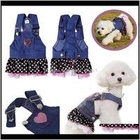 Animal de compagnie goutte goutte livraison 2021 jolie occasionnel doux mignon canin jean jean vêtements vêtements coeur imprimé animaux domestiques jupes jupe vêtements chien chien