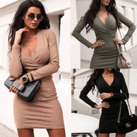 Spring and autum V-neck sexy wrapped short dress casual long sleeve