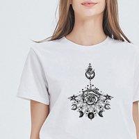 Женщины футболки рубашки эстетические моды универсальные странные татуировки принт бедра поп-тройник свободный модный ропа моджер