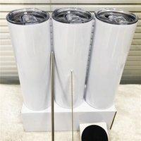 EM LINHA RETA!!! 20oz sublimação de tumblers retos com garrafas de água de aço inoxidável de palha drinkware Duplo de xícaras isoladas