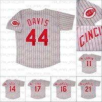 Retro Baseball 1993 1994 und 1996 World Series Home Jersey 11 Barry Larkin 17 Chris Sabo 21 Deion Sanders 44 Davis