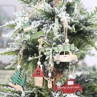 3 PCS Set Christmas Wooden Hanging Ornaments New Year Xmas Tree Drop Decorations Elk Car House Shape Pendants BWB10566