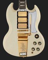 1963 사용자 정의 재발행 클래식 화이트 / 크림 SG 일렉트릭 기타 긴 버전 Maestro Vibrola Tremolo Bridge Harpe Logo, 3 Humbucker 픽업, 골드 하드웨어, 그로버 튜너