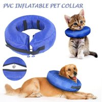Pet Cat Dog Inflatable Collar Recovery Wound Healing Protective Anti-bite PVC Comfortable E-Collar With Zipper Blue Collars & Leads