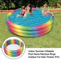 Pool & Accessories Garden Summer Rainbow Rings For Kids Home Family Indoor Outdoor Thicken PVC Inflatable Swimming Water Toys Fun Party Game