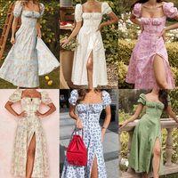 Women Boho Maxi Sundress Floral Print Bohemian Split Dress for Ladies Summer Party Dresses Cocktail Elegant Holiday Retro Skirt