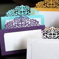 Biglietti Greeting 12x12cm Favore Tavolo da decorazioni Place 50pcs / Pack Bianco Tagliato a taglio laser Carta da sposa Nome per il bordo del pizzo del partito