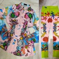 Европа и Америка Новейшая барочная напечатана однобортная рубашка + эластичные дновые брюки