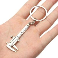 Keychains Creative Fashion Vernier Caliper Keychain For Man Woman Jewelry Accessories Christmas Gift Portable Gadget Model Tool