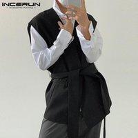 Gilet da uomo Incerun 2021 Fashion Men Solid Color Color senza maniche Streetwear Streetwear Causal Gilet Punto aperto Capispalla coreana con cintura 5XL