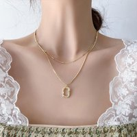 Korean Style Girl Necklace Metal Geometric Square Pendant Double Chain Clavicle For Women Fashion Jewelry Accessories Chains