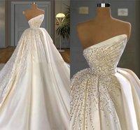 Gorgeous Dubai Arabic Wedding Gowns 2021 Strapless Luxurious Sequins Beaded Pearls Ruched Satin A Line Vintage Bridal Dresses Chapel Train Brides Vestidos AL9026