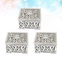 Gift Wrap 24PCS Hollow Out Flower Pattern Boxes Square Mini Candy Packaging Case Party Favors (Golden)