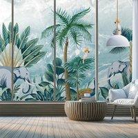 Özel Kendinden Yapışkanlı Duvar Kağıdı Nordic El Boyalı 3D Tropikal Orman Bitki Fil Mermer Oturma Odası TV Kanepe Yatak Odası Mural Duvar Kağıtları