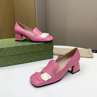 Новый стиль женские формальные дизайнерские модные туфли толстые высокие каблуки металлические крепежные украшения Удобная натуральная кожа 35-42