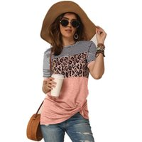 Round Neck Fashion Cross-bundling Casual T-shirt Leopard Print Three-color Stitching Comfortable Shopping Home Women's