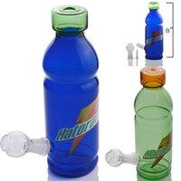 8 인치 높이 푸른 녹색 음료 병 봉 예술 유리 물 파이프 튼튼한 유리 물 담뱃대에 레드 와인 유리 재활용 봉