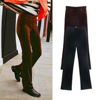 Women's Pants & Capris ZA Spring Autumn Women 2021 Velvet Full-Length High Waist Pockets Fashion Sexy Boot Cut Trousers Streetwear