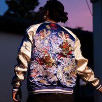 Uomini ragazzi Phoenix Sakura drago ricamato lavoro pesante sukajan giacca souvenir cappotti streetwear streetwear high street manica lunga moda l da uomo jacke