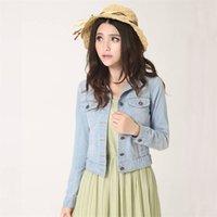Ly automne Vintage Mode Denim Manteaux Vêtements Collier Collier Collier Femmes Crop Top Solide Slim Manches Longues Mesdames Vestes 62471 210925