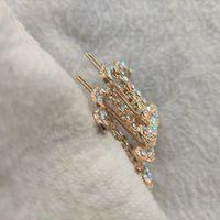 Metalen mode haaraccessoires haarclips pauw kleur glanzende haarspeld klassieke steen met papieren kaart