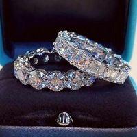 Luksusowe musujące Silver Wed Pierścień Dla Kobiety Obietnica Wedding Bridal Jewelry Prezent