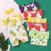 Macacões Mochecos Meninas Ruffle Sleeve Morango Morango Melancia Lemão Abacate Abacate Abacate Print Jumpsuits com Headband Summer Baby Roupas