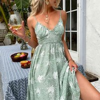 Dresses Simplee Casual Green Sling Print Women Summer Sexy V-neck Holiday Style Maxi Elegant High-waist Lace-up Ruffle