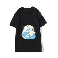 럭셔리 남성 디자이너 티셔츠 패션 오션 웨이브 인쇄 짧은 소매 고품질 검은 흰색 티 사이즈 S-XXL