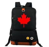 حقيبة الظهر كندا العلم الأسود كتاب الطلاب حقيبة سفر الكمبيوتر مضيئة