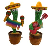 Interior Decorations Funny Electric Dancing Plant Cactus Plush Stuffed Toy with Music for Early Childhood Education Gifts Car Home Office