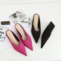 Sandali satin tacco spesso tacco chiuso punta pantofola slip-on slip-on banale primavera marca sexy mulo partito scarpe da donna tutte match donne slide shoe shoes ek