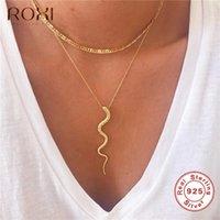 Designer Necklace Echt 925 Sterling Silve Snake Hanger Dames Geschenken Punk Style Charm Gold Choker Long Statement Sieraden