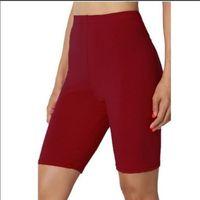 Women's Leggings Summer Women High Elasticit Slim Body Run Solid Color Pant Waist Hips Sports Fitness Five-Point Pants Female