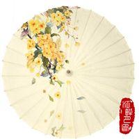 Зонтики желтые листья масло бумаги зонтик древний традиционный зонтик домашнего декора висит