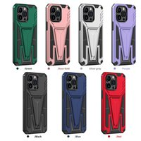 Magnetic Car Holder New Design Phone Cases for iPhone 13 Pro Case 12 11 Xr Xs Samsung Huawei Moto Oppo Vivo TPU PC 2 In 1 Kickstand Shockproof Cover
