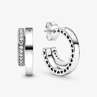 2020 Autumn Collection S925 Earring 100% 925 sterling silver Pave Double Hoop Earrings For Women Fine Jewelry Wholesale 299056C01