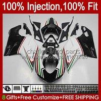 Injection Fairings For DUCATI 848 1098 1198 S R 848R 1198R Bodywork 18No.31 848S 1098S 2007 2008 2009 2010 2011 2012 1098R 1198S White black 07 08 09 10 11 12 OEM Body Kit
